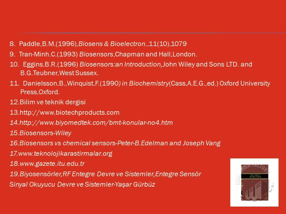 8. Paddle,B.M.(1996),Biosens & Bioelectron.,11(10),1079 9. Tran-Minh.C.(1993) Biosensors,Chapman and Hall,London. 10. Eggins,B.R.(1996) Biosensors:an
