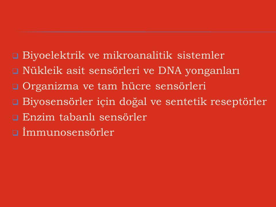  Biyoelektrik ve mikroanalitik sistemler  Nükleik asit sensörleri ve DNA yonganları  Organizma ve tam hücre sensörleri  Biyosensörler için doğal v