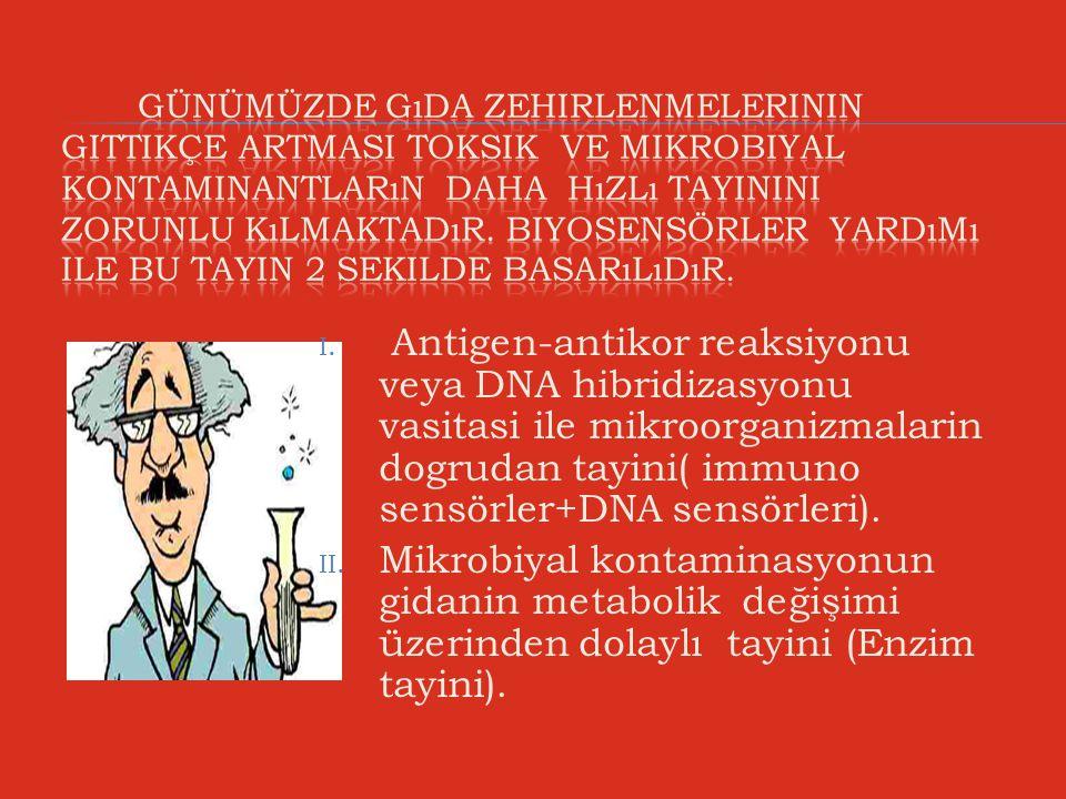 I. Antigen-antikor reaksiyonu veya DNA hibridizasyonu vasitasi ile mikroorganizmalarin dogrudan tayini( immuno sensörler+DNA sensörleri). II. Mikrobiy