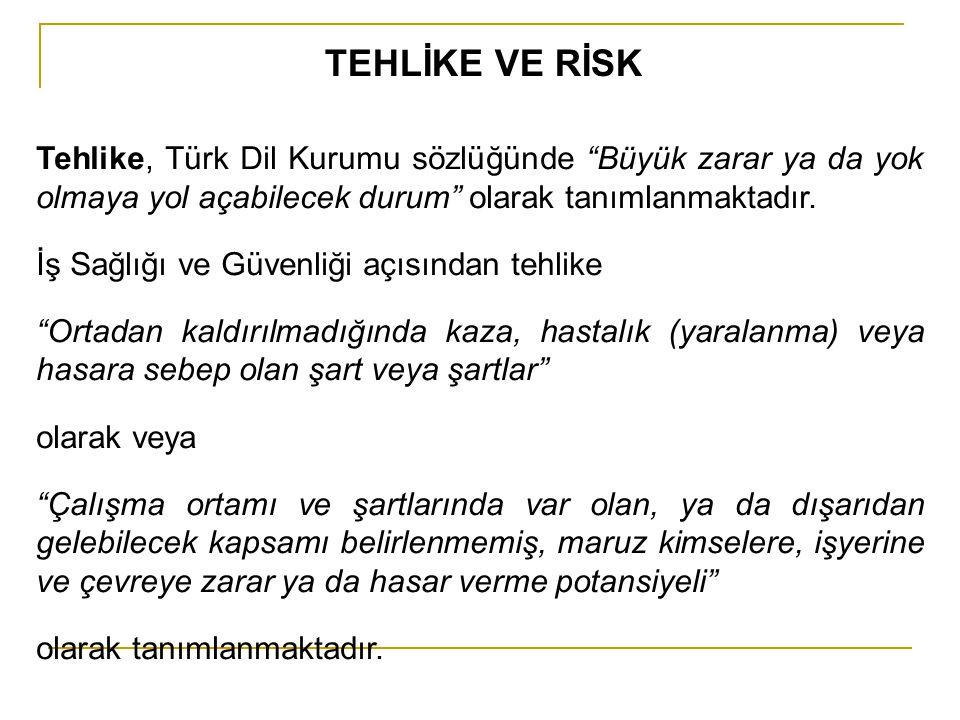 """TEHLİKE VE RİSK Tehlike, Türk Dil Kurumu sözlüğünde """"Büyük zarar ya da yok olmaya yol açabilecek durum"""" olarak tanımlanmaktadır. İş Sağlığı ve Güvenli"""