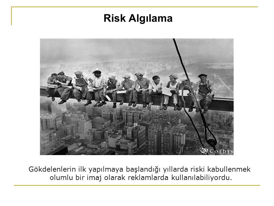 Risk Algılama Gökdelenlerin ilk yapılmaya başlandığı yıllarda riski kabullenmek olumlu bir imaj olarak reklamlarda kullanılabiliyordu.