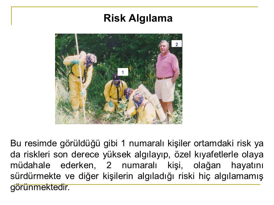 Risk Algılama Bu resimde görüldüğü gibi 1 numaralı kişiler ortamdaki risk ya da riskleri son derece yüksek algılayıp, özel kıyafetlerle olaya müdahale
