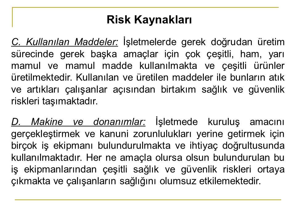 Risk Kaynakları C. Kullanılan Maddeler: İşletmelerde gerek doğrudan üretim sürecinde gerek başka amaçlar için çok çeşitli, ham, yarı mamul ve mamul ma