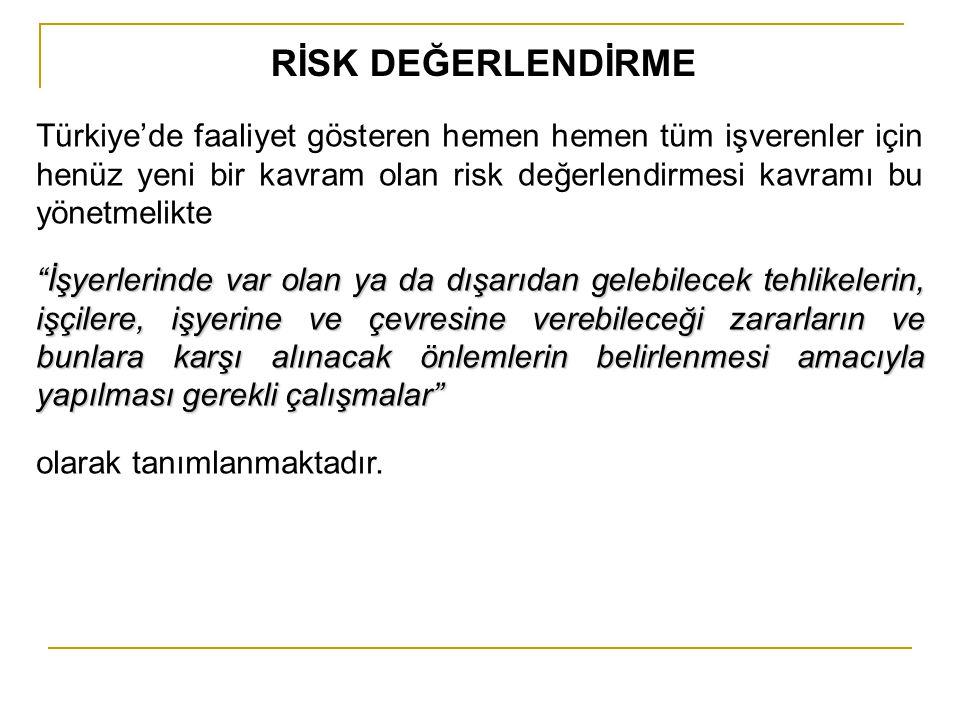 RİSK DEĞERLENDİRME Türkiye'de faaliyet gösteren hemen hemen tüm işverenler için henüz yeni bir kavram olan risk değerlendirmesi kavramı bu yönetmelikt