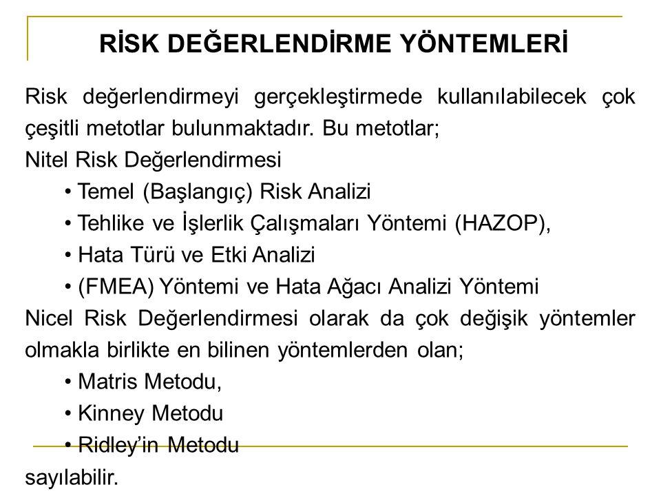 RİSK DEĞERLENDİRME YÖNTEMLERİ Risk değerlendirmeyi gerçekleştirmede kullanılabilecek çok çeşitli metotlar bulunmaktadır. Bu metotlar; Nitel Risk Değer