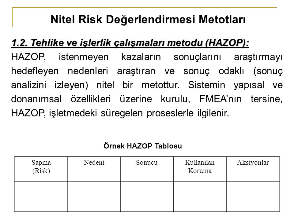 Nitel Risk Değerlendirmesi Metotları 1.2. Tehlike ve işlerlik çalışmaları metodu (HAZOP): HAZOP, istenmeyen kazaların sonuçlarını araştırmayı hedefley