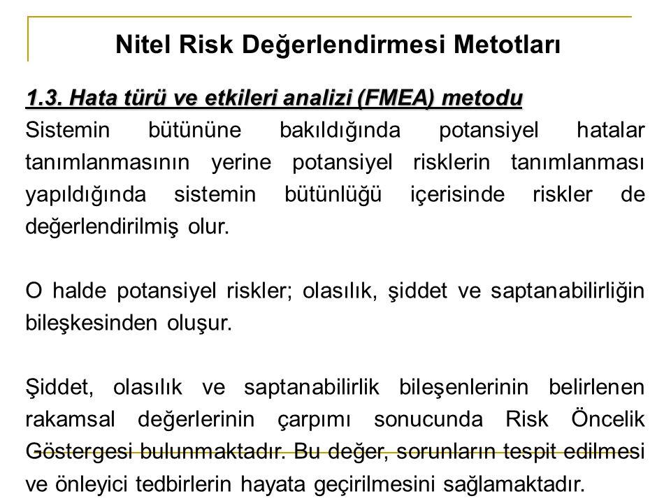 Nitel Risk Değerlendirmesi Metotları 1.3. Hata türü ve etkileri analizi (FMEA) metodu Sistemin bütününe bakıldığında potansiyel hatalar tanımlanmasını