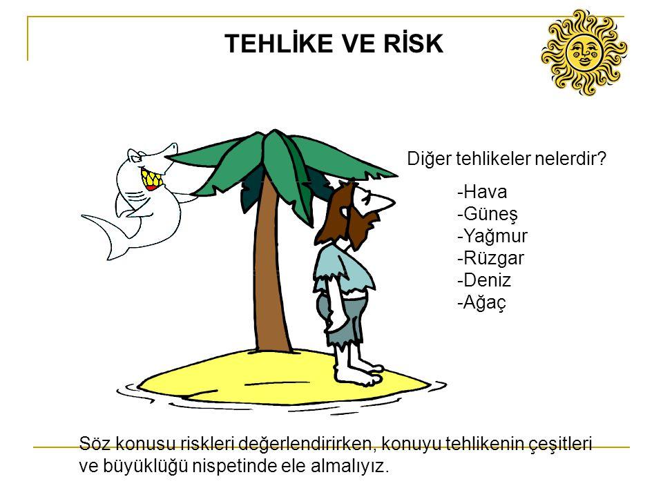 Diğer tehlikeler nelerdir? -Hava -Güneş -Yağmur -Rüzgar -Deniz -Ağaç Söz konusu riskleri değerlendirirken, konuyu tehlikenin çeşitleri ve büyüklüğü ni