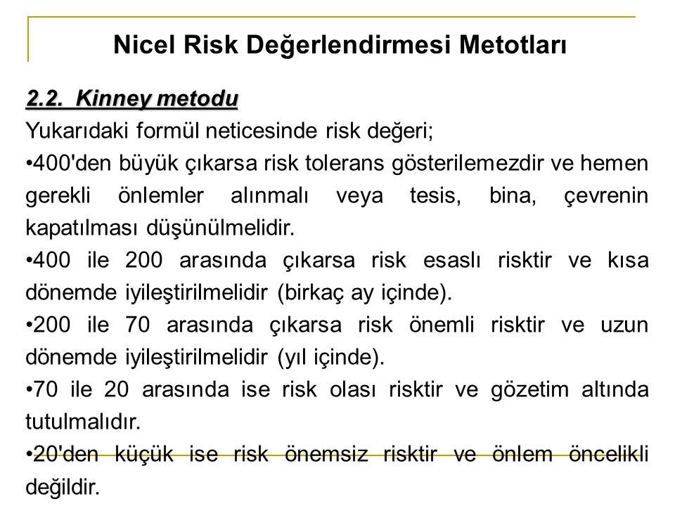 Nicel Risk Değerlendirmesi Metotları 2.2. Kinney metodu Yukarıdaki formül neticesinde risk değeri; 400'den büyük çıkarsa risk tolerans gösterilemezdir
