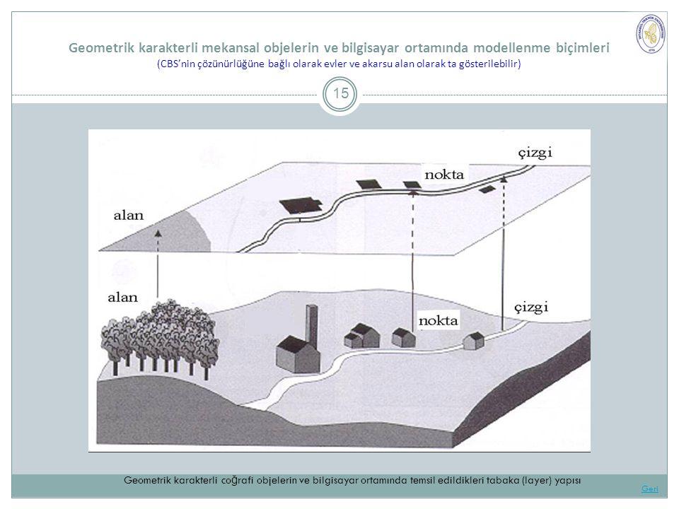Geometrik karakterli mekansal objelerin ve bilgisayar ortamında modellenme biçimleri (CBS'nin çözünürlüğüne bağlı olarak evler ve akarsu alan olarak ta gösterilebilir) 15 Geri Geometrik karakterli co ğ rafi objelerin ve bilgisayar ortamında temsil edildikleri tabaka (layer) yapısı
