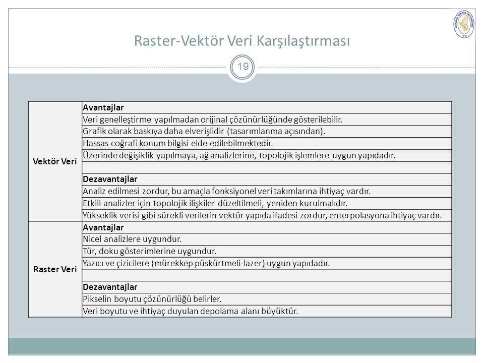 Raster-Vektör Veri Karşılaştırması Vektör Veri Avantajlar Veri genelleştirme yapılmadan orijinal çözünürlüğünde gösterilebilir.