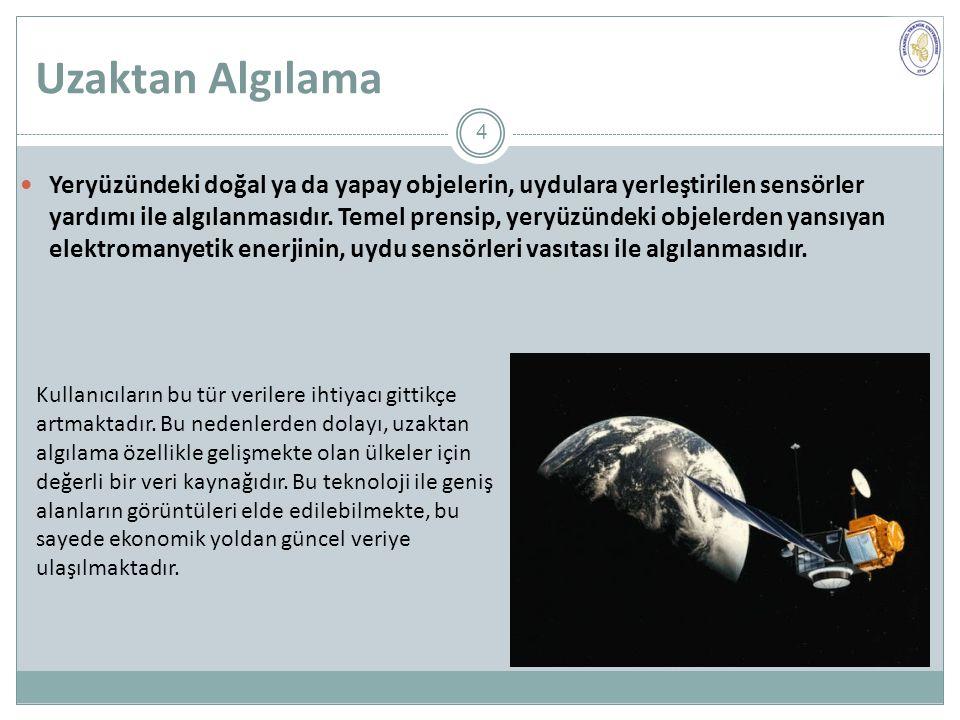 Uzaktan Algılama Yeryüzündeki doğal ya da yapay objelerin, uydulara yerleştirilen sensörler yardımı ile algılanmasıdır.