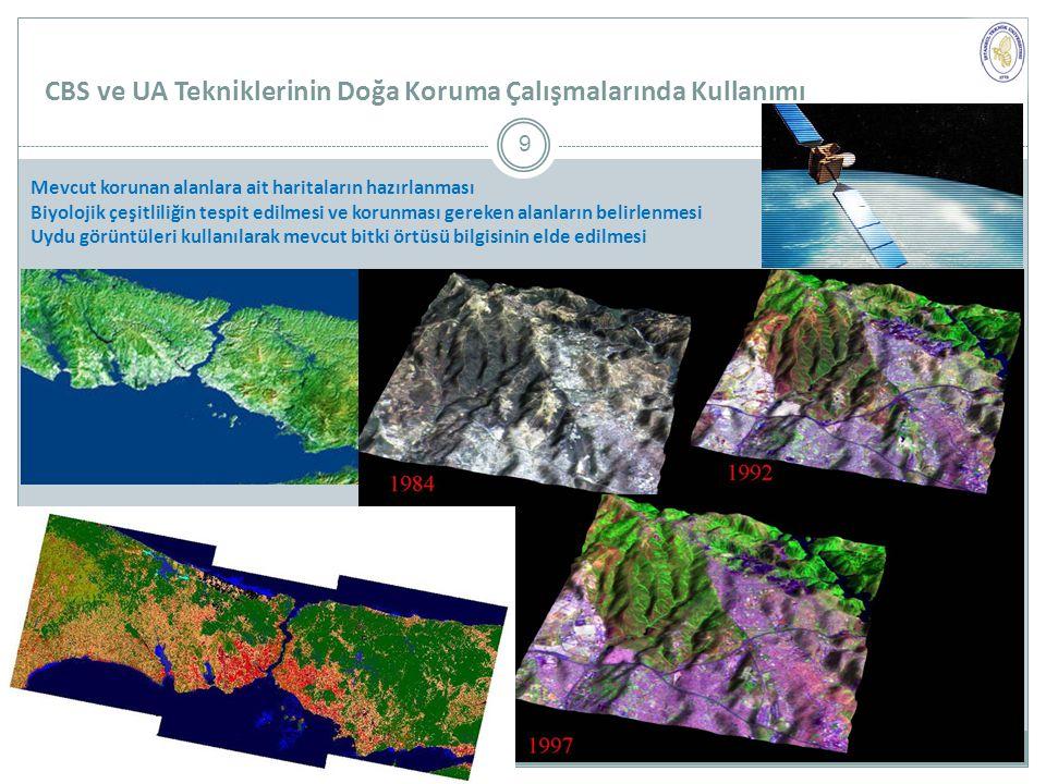 CBS ve UA Tekniklerinin Doğa Koruma Çalışmalarında Kullanımı Mevcut korunan alanlara ait haritaların hazırlanması Biyolojik çeşitliliğin tespit edilmesi ve korunması gereken alanların belirlenmesi Uydu görüntüleri kullanılarak mevcut bitki örtüsü bilgisinin elde edilmesi 9