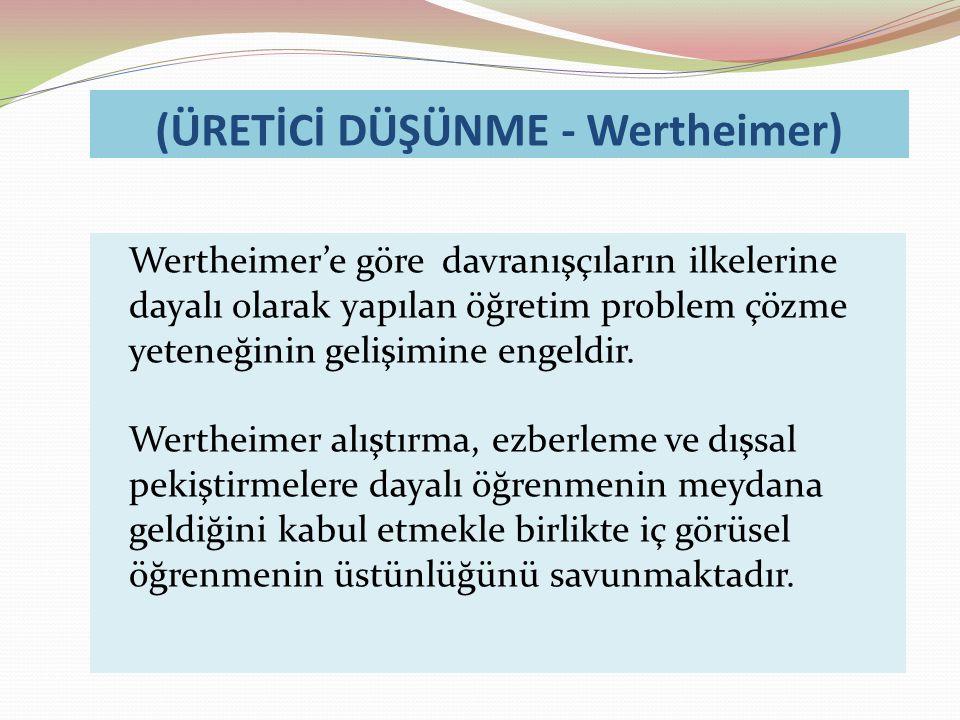 (ÜRETİCİ DÜŞÜNME - Wertheimer) Wertheimer'e göre davranışçıların ilkelerine dayalı olarak yapılan öğretim problem çözme yeteneğinin gelişimine engeldir.