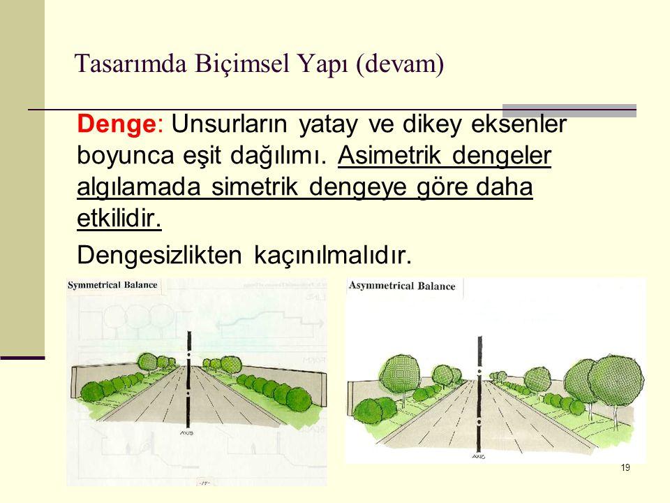 19 Tasarımda Biçimsel Yapı (devam) Denge: Unsurların yatay ve dikey eksenler boyunca eşit dağılımı. Asimetrik dengeler algılamada simetrik dengeye gör