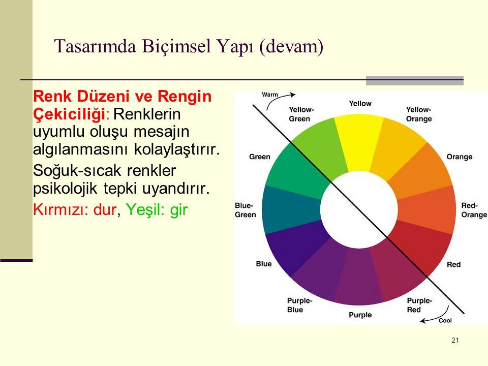 21 Tasarımda Biçimsel Yapı (devam) Renk Düzeni ve Rengin Çekiciliği: Renklerin uyumlu oluşu mesajın algılanmasını kolaylaştırır. Soğuk-sıcak renkler p