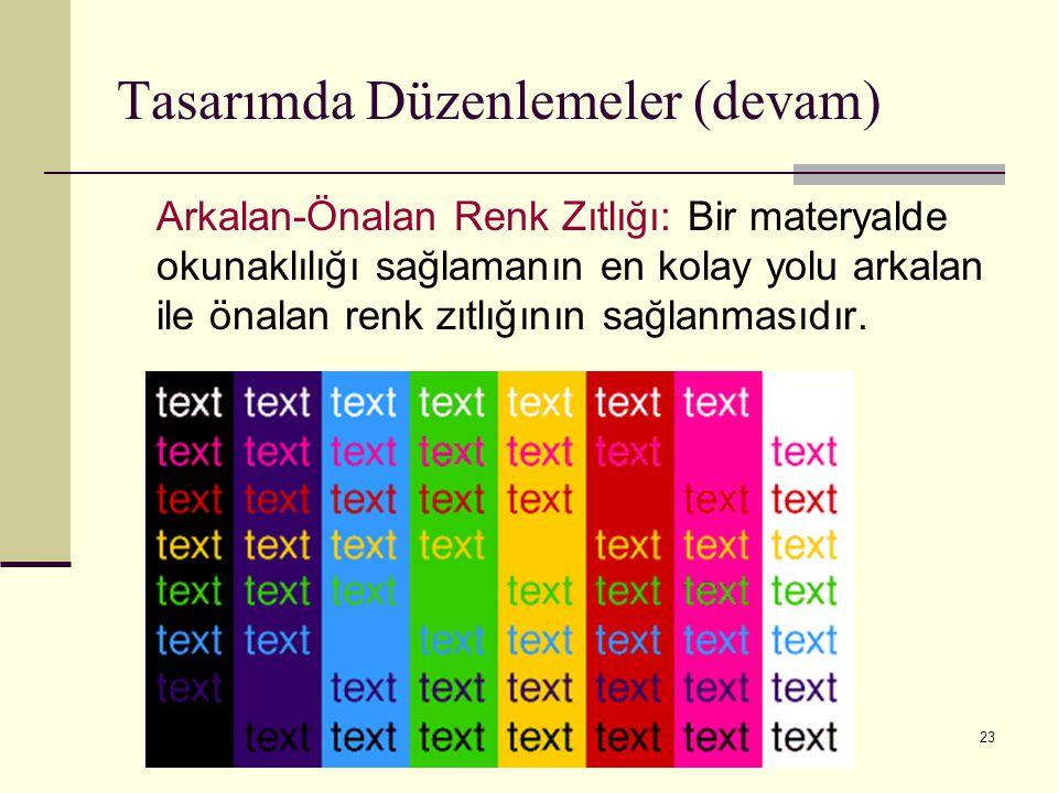 23 Arkalan-Önalan Renk Zıtlığı: Bir materyalde okunaklılığı sağlamanın en kolay yolu arkalan ile önalan renk zıtlığının sağlanmasıdır. Tasarımda Düzen
