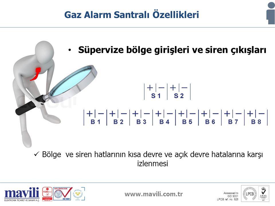 www.mavili.com.tr Assessed to ISO 9001 LPCB ref. no. 926 Gaz Alarm Santralı Özellikleri Süpervize bölge girişleri ve siren çıkışları Bölge ve siren ha