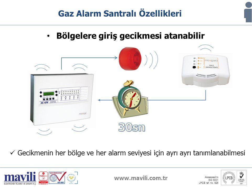 www.mavili.com.tr Assessed to ISO 9001 LPCB ref. no. 926 Gaz Alarm Santralı Özellikleri Bölgelere giriş gecikmesi atanabilir Gecikmenin her bölge ve h