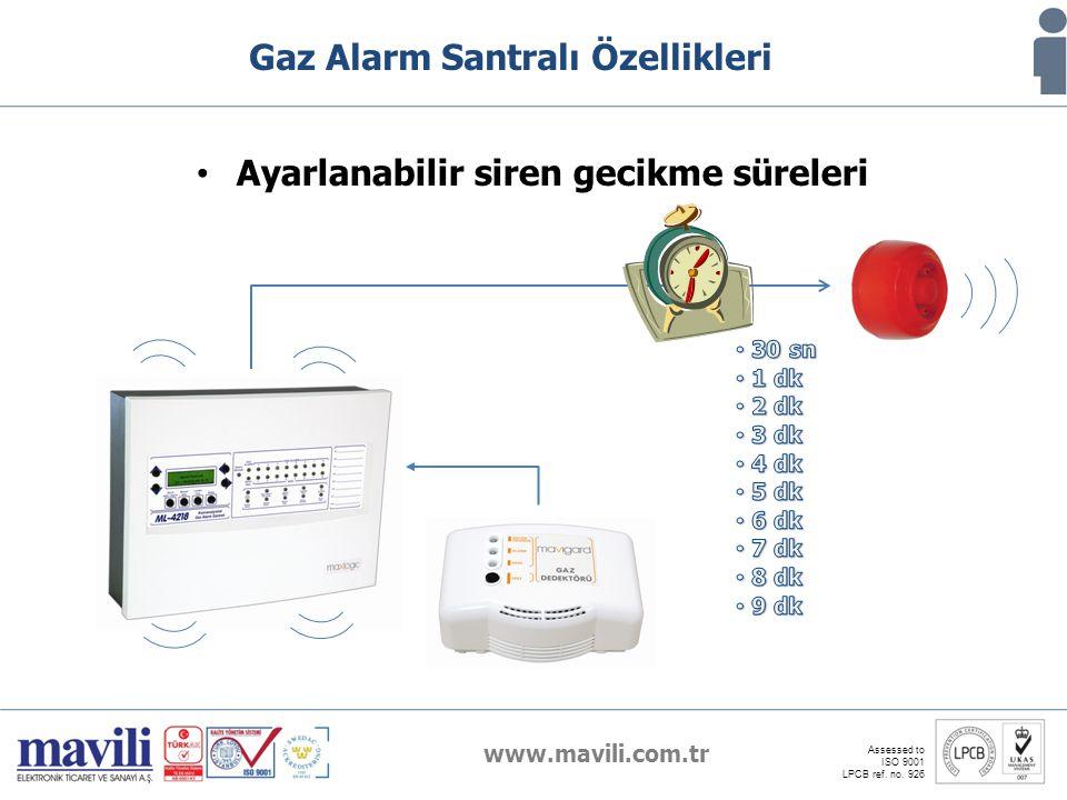 www.mavili.com.tr Assessed to ISO 9001 LPCB ref. no. 926 Gaz Alarm Santralı Özellikleri Ayarlanabilir siren gecikme süreleri
