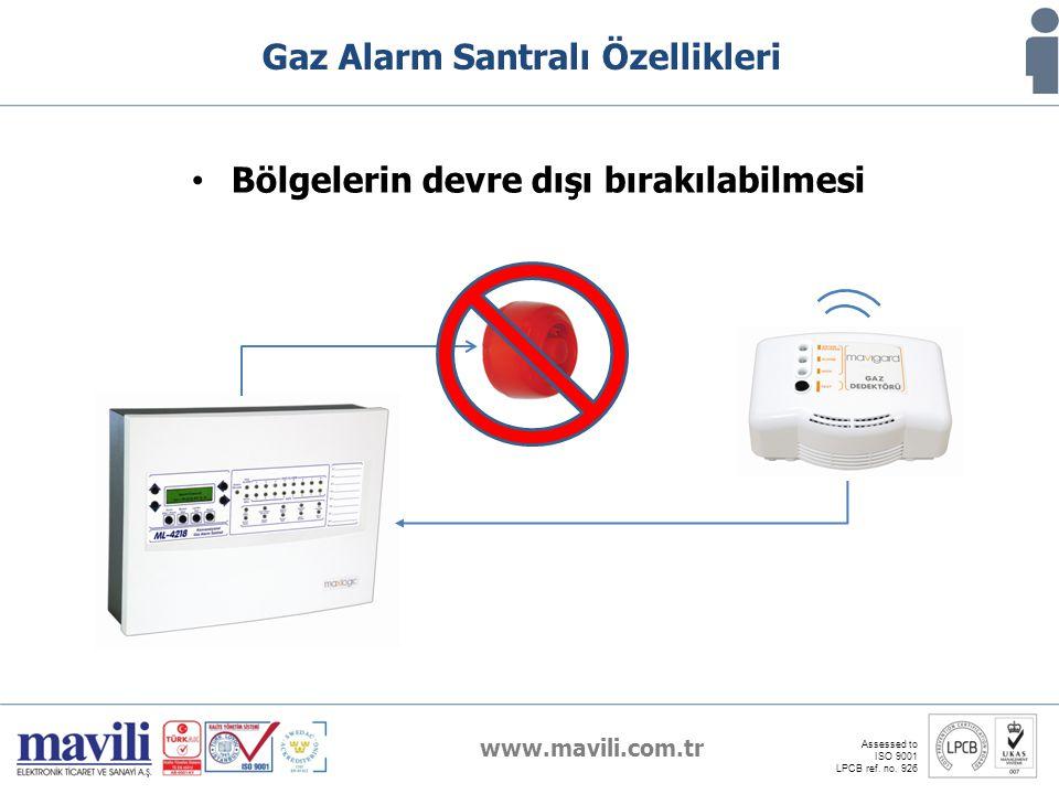 www.mavili.com.tr Assessed to ISO 9001 LPCB ref. no. 926 Gaz Alarm Santralı Özellikleri Bölgelerin devre dışı bırakılabilmesi