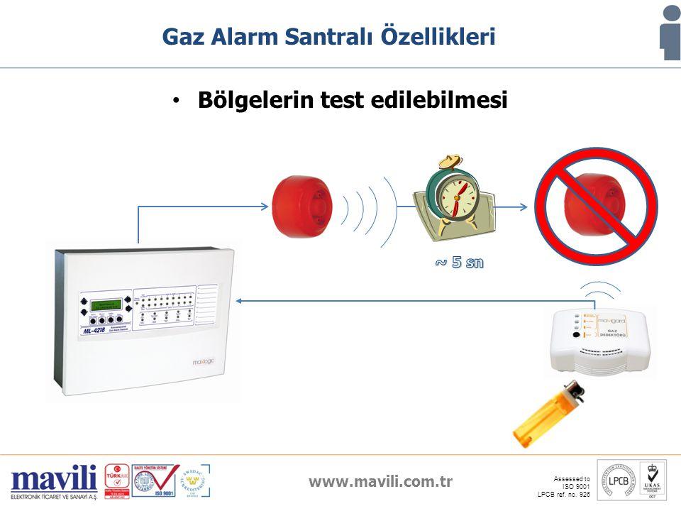 www.mavili.com.tr Assessed to ISO 9001 LPCB ref. no. 926 Gaz Alarm Santralı Özellikleri Bölgelerin test edilebilmesi