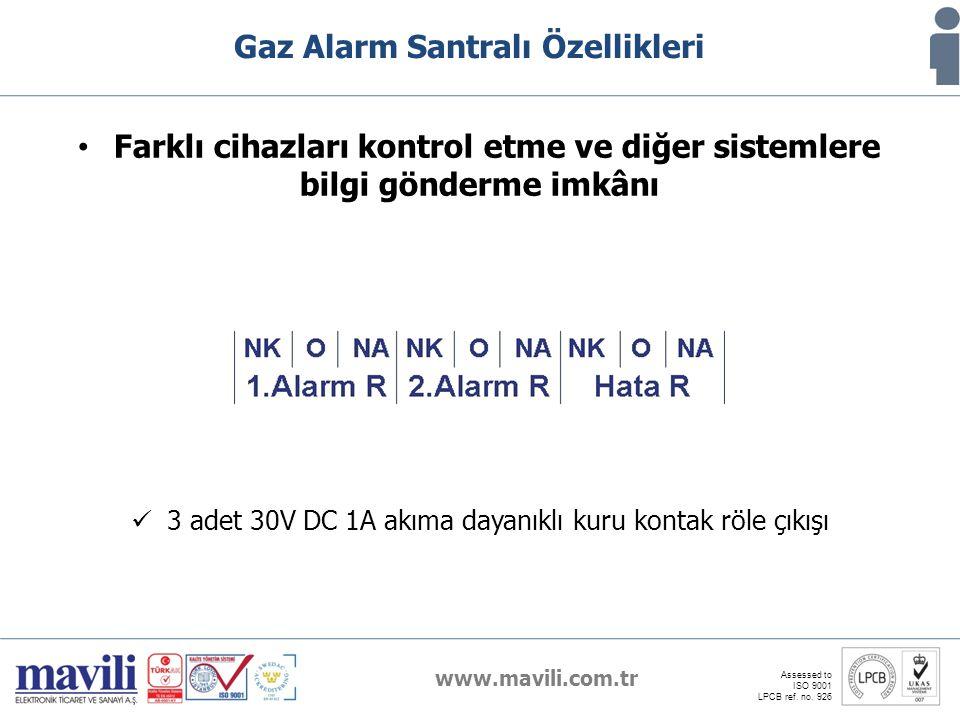 www.mavili.com.tr Assessed to ISO 9001 LPCB ref. no. 926 Gaz Alarm Santralı Özellikleri Farklı cihazları kontrol etme ve diğer sistemlere bilgi gönder