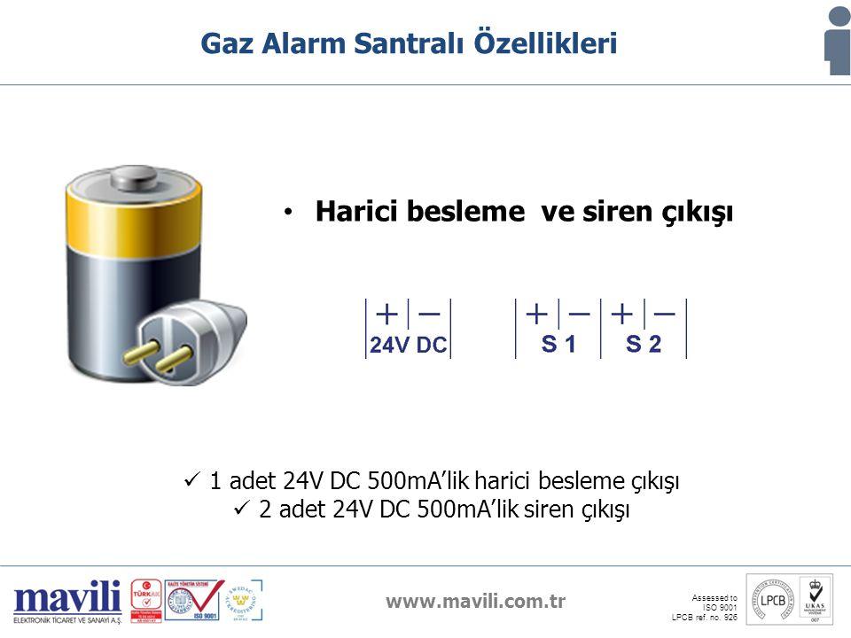 www.mavili.com.tr Assessed to ISO 9001 LPCB ref. no. 926 Gaz Alarm Santralı Özellikleri Harici besleme ve siren çıkışı 1 adet 24V DC 500mA'lik harici