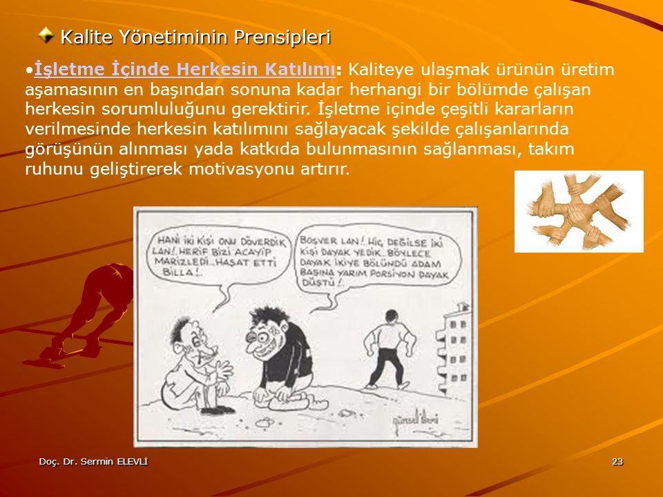 Doç. Dr. Sermin ELEVLİ23 Kalite Yönetiminin Prensipleri İşletme İçinde Herkesin Katılımı: Kaliteye ulaşmak ürünün üretim aşamasının en başından sonuna