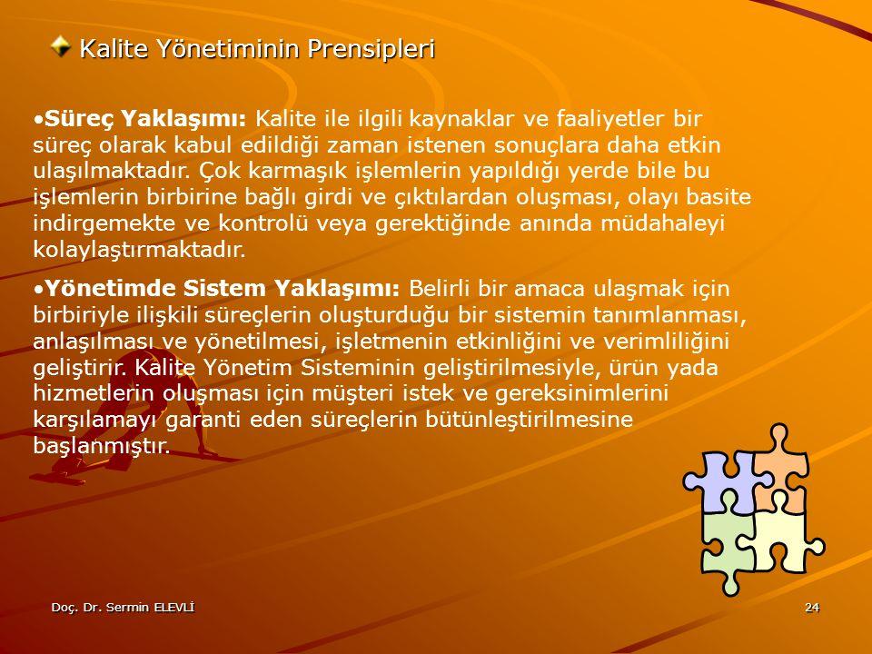Doç. Dr. Sermin ELEVLİ24 Kalite Yönetiminin Prensipleri Süreç Yaklaşımı: Kalite ile ilgili kaynaklar ve faaliyetler bir süreç olarak kabul edildiği za