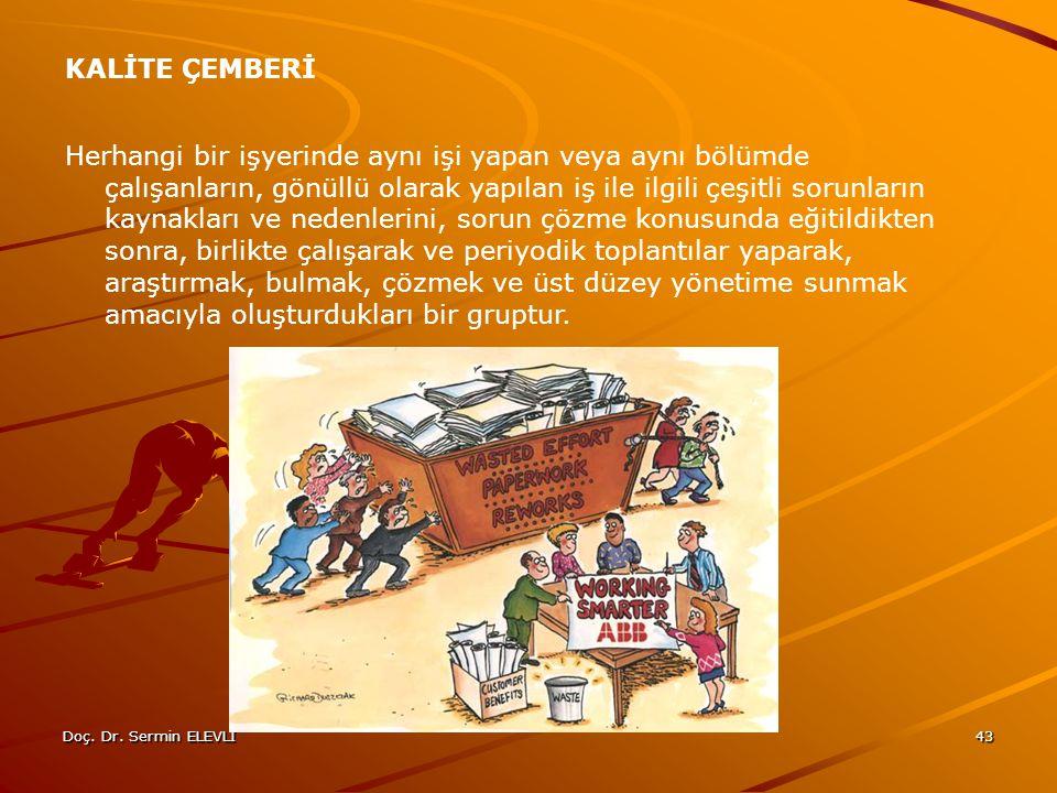 Doç. Dr. Sermin ELEVLİ43 KALİTE ÇEMBERİ Herhangi bir işyerinde aynı işi yapan veya aynı bölümde çalışanların, gönüllü olarak yapılan iş ile ilgili çeş