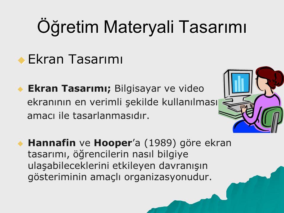 Öğretim Materyali Tasarımı  Ekran Tasarımı   Ekran Tasarımı; Bilgisayar ve video ekranının en verimli şekilde kullanılması amacı ile tasarlanmasıdı