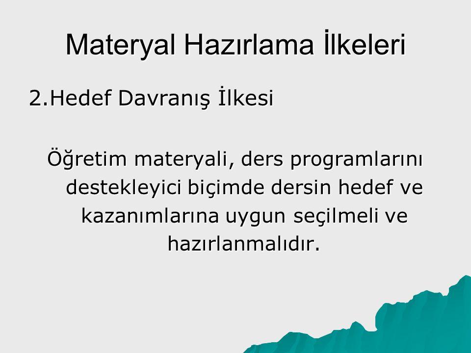 Materyal Hazırlama İlkeleri 3.Tamamlama İlkesi Öğretim materyali, dersin konusunu oluşturan bütün bilgilerle değil, önemli ve özet bilgilerle donatılmalıdır.