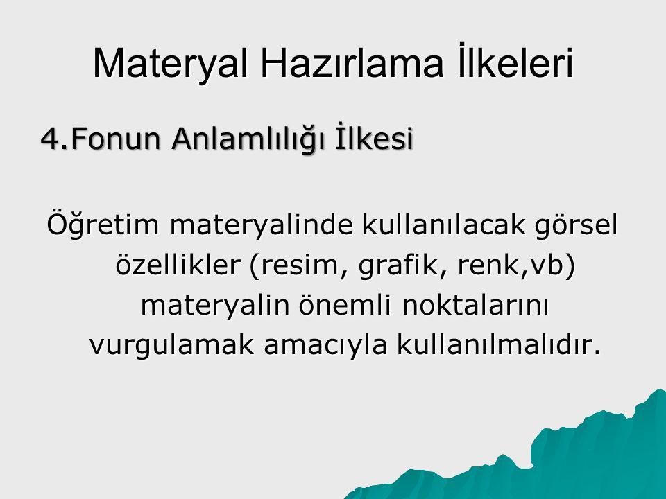 Materyal Hazırlama İlkeleri 4.Fonun Anlamlılığı İlkesi Öğretim materyalinde kullanılacak görsel özellikler (resim, grafik, renk,vb) materyalin önemli
