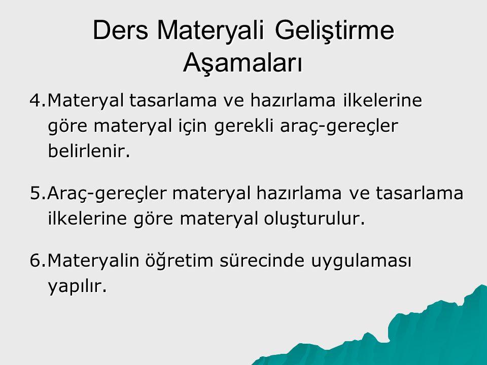 Ders Materyali Geliştirme Aşamaları 4.Materyal tasarlama ve hazırlama ilkelerine göre materyal için gerekli araç-gereçler belirlenir. 5.Araç-gereçler