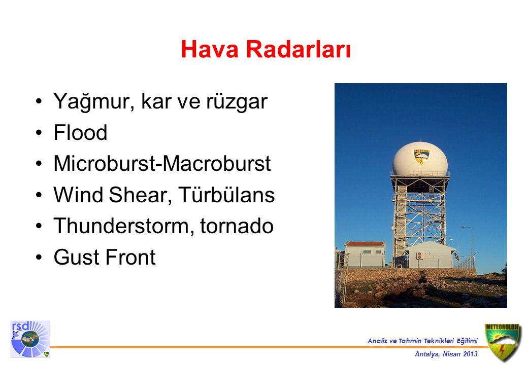 Analiz ve Tahmin Teknikleri Eğitimi Antalya, Nisan 2013 Konvansiyonel Hava Radarları (Doppler olmayan) - Eski tip - Clutter elimine etmekte çok başarılı değiller - Hedefin yalnızca konumu ve büyüklüğü hakkında bilgi verirler Doppler Hava Radarları - Son teknoloji - Hedefin konumu, büyüklüğü ve hızı hakkında bilgi verirler Polarimetrik Doppler Hava Radarları - Hem yatay hem de dikey polarizasyonda dalga yayabilir ve geri alabilirler.