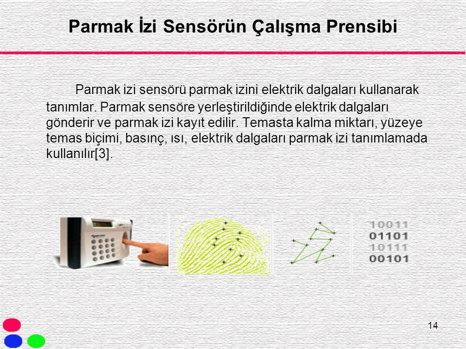 14 Parmak İzi Sensörün Çalışma Prensibi Parmak izi sensörü parmak izini elektrik dalgaları kullanarak tanımlar. Parmak sensöre yerleştirildiğinde elek