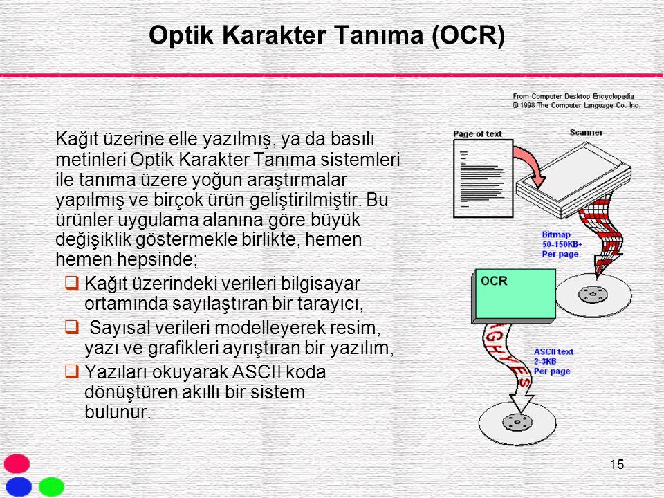 15 Optik Karakter Tanıma (OCR) Kağıt üzerine elle yazılmış, ya da basılı metinleri Optik Karakter Tanıma sistemleri ile tanıma üzere yoğun araştırmala