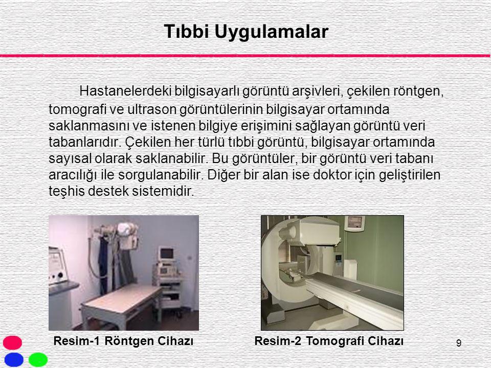 9 Tıbbi Uygulamalar Hastanelerdeki bilgisayarlı görüntü arşivleri, çekilen röntgen, tomografi ve ultrason görüntülerinin bilgisayar ortamında saklanma
