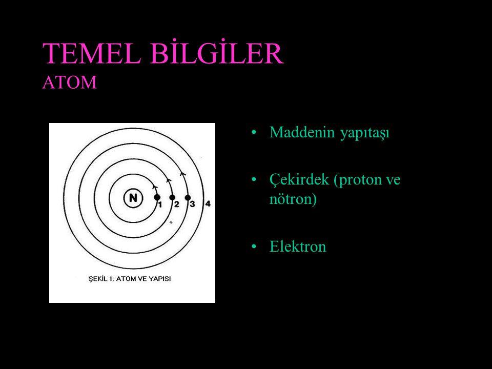 TEMEL BİLGİLER ATOM Maddenin yapıtaşı Çekirdek (proton ve nötron) Elektron