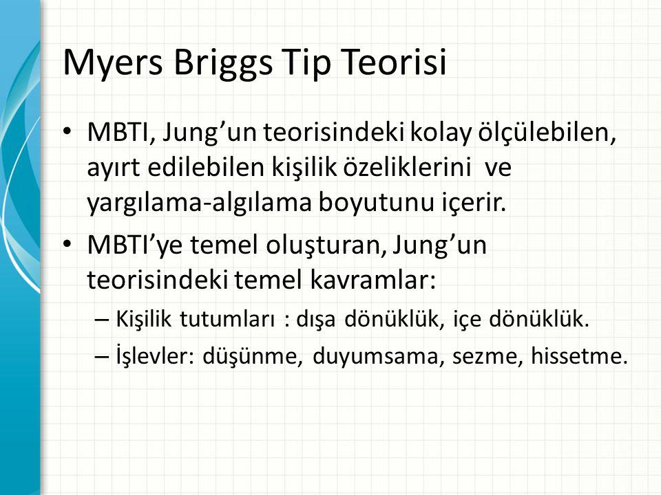 Myers Briggs Tip Teorisi MBTI, Jung'un teorisindeki kolay ölçülebilen, ayırt edilebilen kişilik özeliklerini ve yargılama-algılama boyutunu içerir. MB