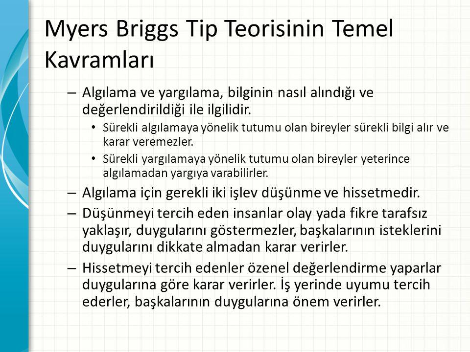 Myers Briggs Tip Teorisinin Temel Kavramları – Algılama ve yargılama, bilginin nasıl alındığı ve değerlendirildiği ile ilgilidir. Sürekli algılamaya y