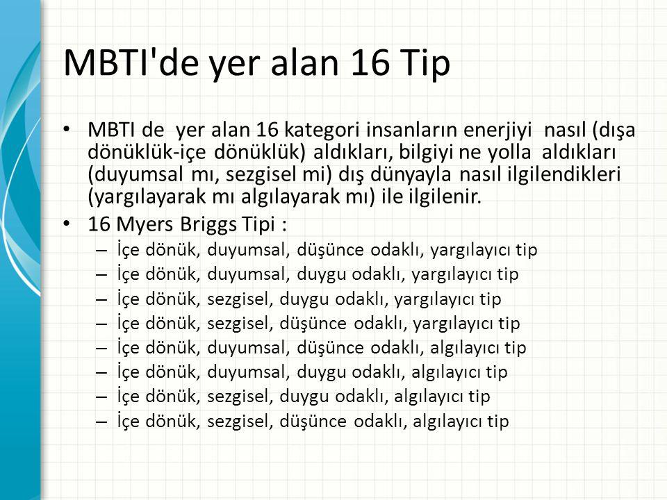 MBTI'de yer alan 16 Tip MBTI de yer alan 16 kategori insanların enerjiyi nasıl (dışa dönüklük-içe dönüklük) aldıkları, bilgiyi ne yolla aldıkları (duy