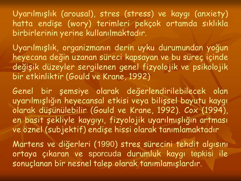 Stres Yaratıcı Alarm Tepkisi Direnç Tükenme Stres yaratıcıların ortadan kalkması: Homeostasisin yeniden sağlanması Stresin Hastalığa Dönüşmesi Selye nin Genel Uyum Belirtisi (1972 ).