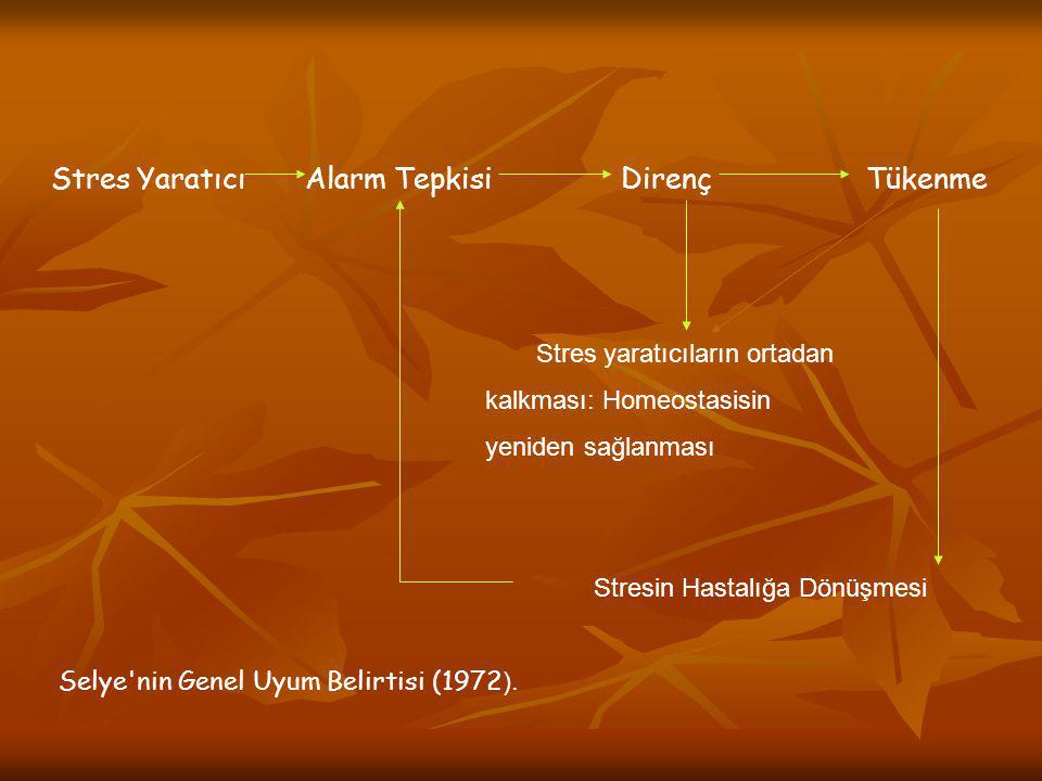 Stres Yaratıcı Alarm Tepkisi Direnç Tükenme Stres yaratıcıların ortadan kalkması: Homeostasisin yeniden sağlanması Stresin Hastalığa Dönüşmesi Selye'n