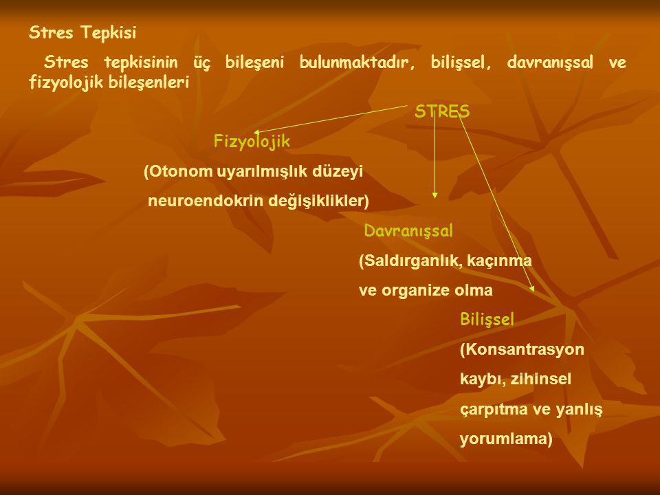 Stres Tepkisi Stres tepkisinin üç bileşeni bulunmaktadır, bilişsel, davranışsal ve fizyolojik bileşenleri STRES Fizyolojik (Otonom uyarılmışlık düzeyi