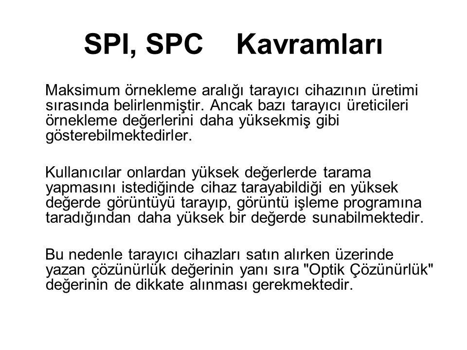 SPI, SPC Kavramları Maksimum örnekleme aralığı tarayıcı cihazının üretimi sırasında belirlenmiştir. Ancak bazı tarayıcı üreticileri örnekleme değerler