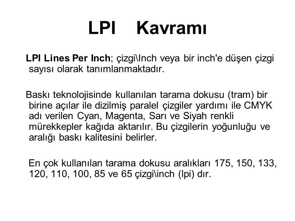 LPI Kavramı LPI Lines Per Inch; çizgi\Inch veya bir inch'e düşen çizgi sayısı olarak tanımlanmaktadır. Baskı teknolojisinde kullanılan tarama dokusu (