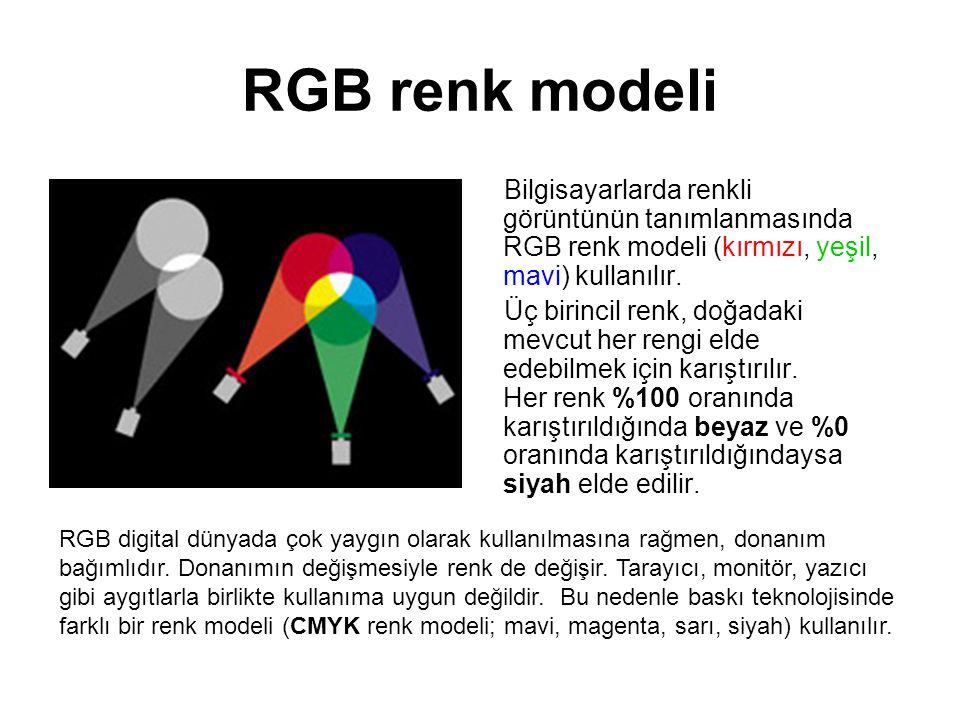 RGB renk modeli Bilgisayarlarda renkli görüntünün tanımlanmasında RGB renk modeli (kırmızı, yeşil, mavi) kullanılır. Üç birincil renk, doğadaki mevcut