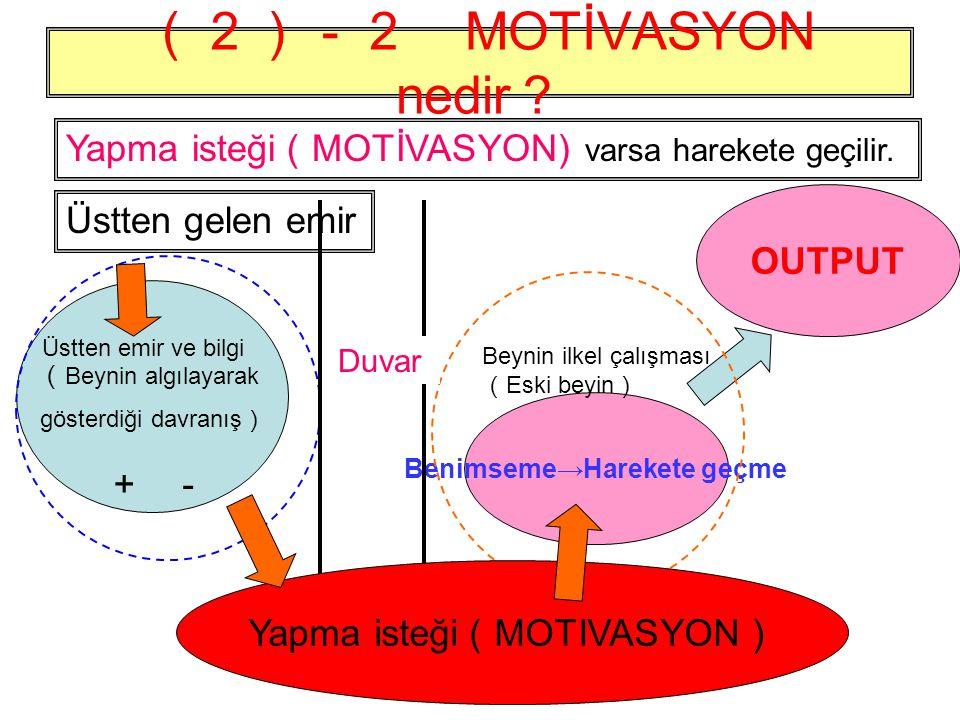 (2)-2 MOTİVASYON nedir ? OUTPUT Benimseme→Harekete geçme ( Beynin algılayarak gösterdiği davranış ) +- Beynin ilkel çalışması ( Eski beyin ) Üstten emir ve bilgi Duvar Yapma isteği ( MOTİVASYON) varsa harekete geçilir.